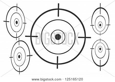 Black round target with crosshair for firing exercises on paper