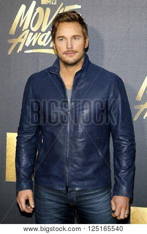 Chris Pratt at the 2016 MTV Movie Awards held at the Warner Bros. Studios in Burbank, USA on April 9, 2016.