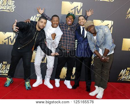 O'Shea Jackson Jr., Corey Hawkins, Neil Brown Jr., and Aldis Hodge at the 2016 MTV Movie Awards held at the Warner Bros. Studios in Burbank, USA on April 9, 2016.