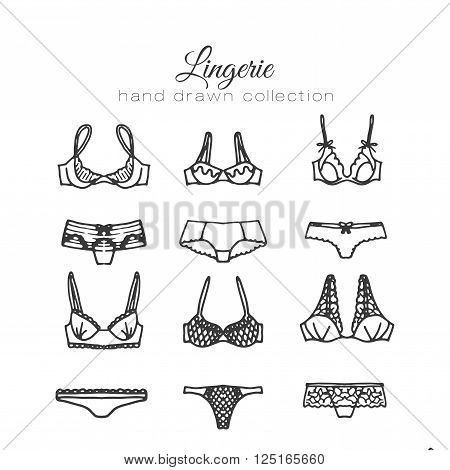 Lingerie set. Vector underwear design. Outline hand drawn illustration. Bras and panties doodle. Fashion feminine collection.