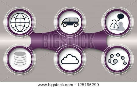Dark purple circular object and six different icons