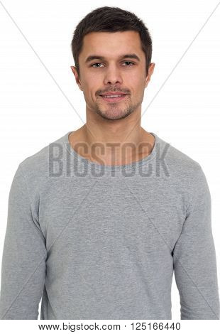 Portrait of a smiling young man isolated on white