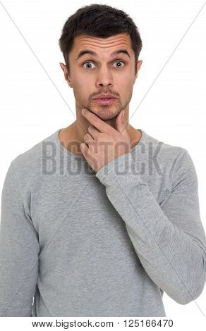 Portrait of a astonished man isolated on white