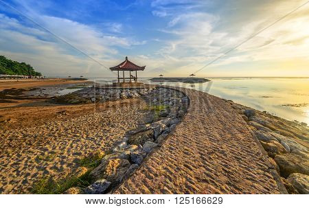 Karang beach Sanur Bali Indonesia in the morning.Slightly Noise And Soft Focus.