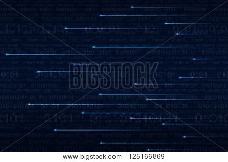 Lighting line with computer binary code on blue background