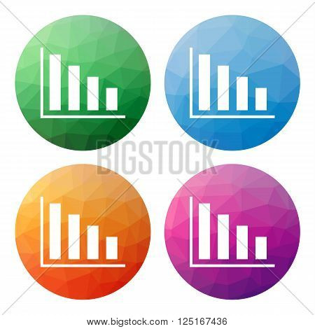 Set  Of 4 Isolated Modern Low Polygonal Buttons - Icons - For Column Graph