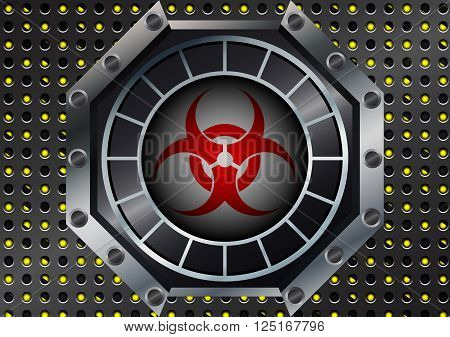 Abstract Biohazard Symbol with metal grid on yellow and black stripes
