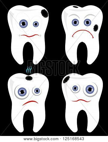 Ill tooth toothache concept isolated over black background vector illustration set. Dental care clipart