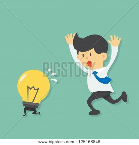 Running Businessman try to catch light bulb idea, light bulb escape from businessman by running  flat design vector