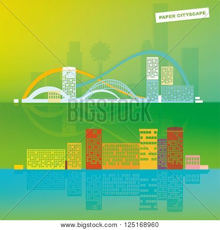 Paper made cityscape. Editable panoramic illustration modern in flat style. Vector image in green, blue, yellow and white colors. Graphic design template.