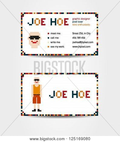 Two sided business card creative concept with pixel art - man with whole body and face on the side with contact information; fictional data