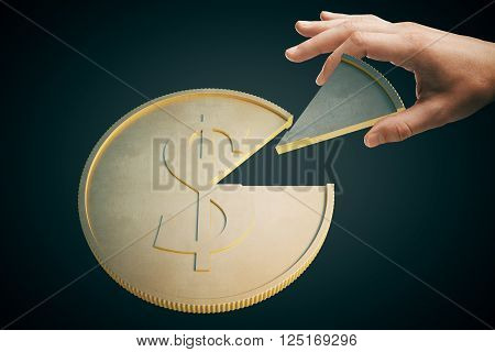 Shareholder concept with hand taking piece of dollar coin on dark background. 3D Rendering