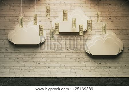 Wealth concept with abstract money rain in room with wooden wall and horizontal planks. 3D Rendering