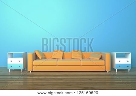 Brown sofa and bedside-tables in blue room with wooden floor. 3D Rendering