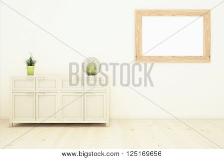Interior design with plants on cupboard and blank picture frame on wall. Mock up 3D Rendering