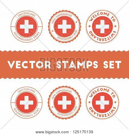 Swiss Flag Rubber Stamps Set. National Flags Grunge Stamps. Country Round Badges Collection.