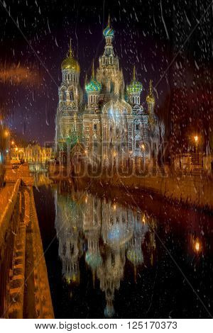 Church of the Saviour on Spilled Blood St. Petersburg Russia. View throw the wet window glass at night.