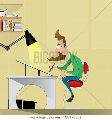 fellow illustrator, graphic designer, artist sitting at a table and drawing. Cartoon vector. creative profession