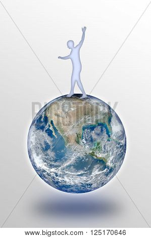 Man balancing on the world. Photo composition with Image from NASA