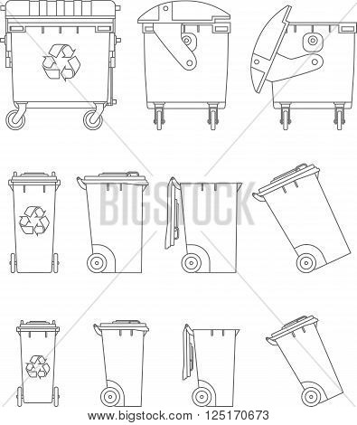 Silhouette illustration of dumpsters isolated on white background.