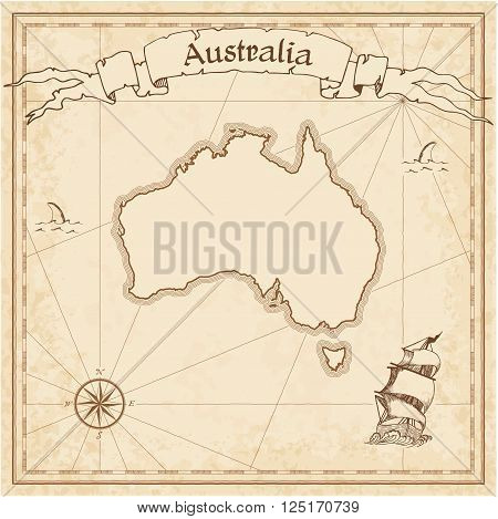 Grunge Vector Treasure Map Of Australia. Stylized Old Pirate Map Template With Banner Ribbon And Cou