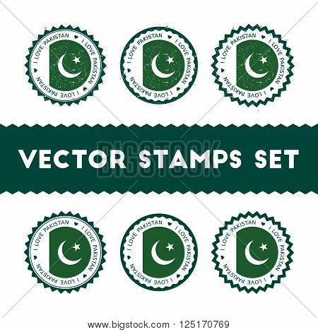 I Love Pakistan Vector Stamps Set. Retro Patriotic Country Flag Badges. National Flags Vintage Round