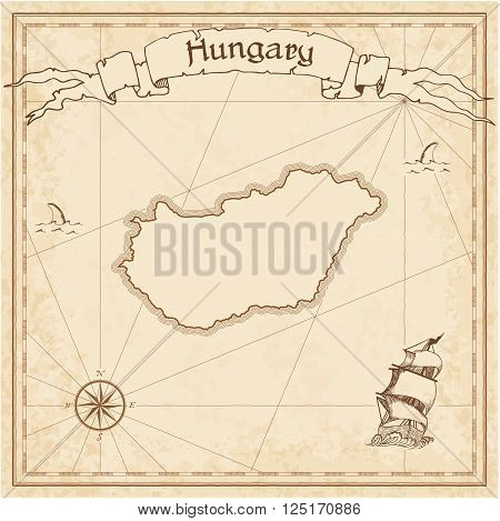 Grunge Vector Treasure Map Of Hungary. Stylized Old Pirate Map Template With Banner Ribbon And Count