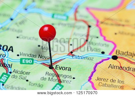 Evora pinned on a map of Portugal