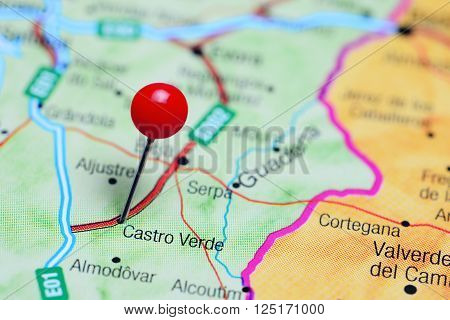 Castro Verde pinned on a map of Portugal