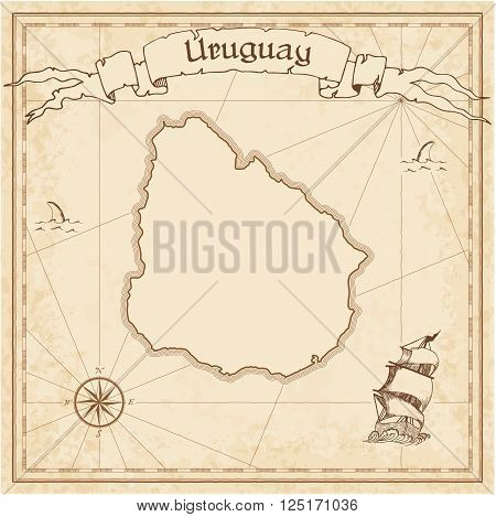 Grunge Vector Treasure Map Of Uruguay. Stylized Old Pirate Map Template With Banner Ribbon And Count