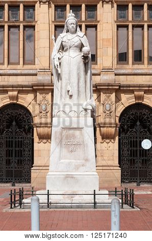 PORT ELIZABETH SOUTH AFRICA - FEBRUARY 27 2016: The statue of Queen Victoria in front of the Public Library on Market Square was unveiled on 30 September 1903
