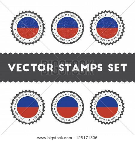 I Love Haiti Vector Stamps Set. Retro Patriotic Country Flag Badges. National Flags Vintage Round Si