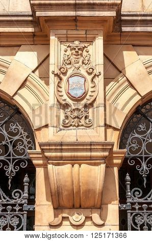 PORT ELIZABETH, SOUTH AFRICA - FEBRUARY 27, 2016: Intricate stonework of the historic Public Library on Market Square in Port Elizabeth, which  was built in 1901 and is a national monument