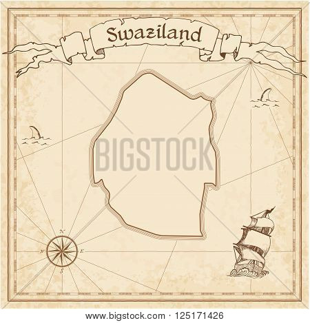 Grunge Vector Treasure Map Of Swaziland. Stylized Old Pirate Map Template With Banner Ribbon And Cou