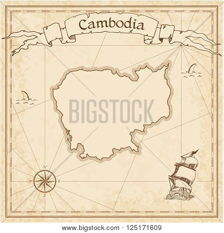Grunge Vector Treasure Map Of Cambodia. Stylized Old Pirate Map Template With Banner Ribbon And Coun