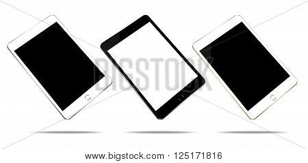 mock up tablet 3 color set isolated on white vector design
