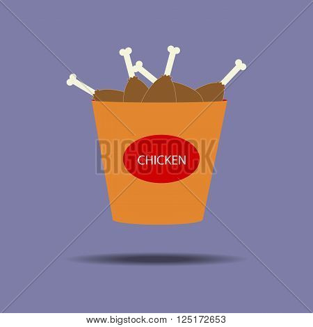 Bucket of chicken legs icon. Fried chicken. Snack. Fast food. Vector illustration