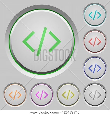 Set of color Programming code sunk push buttons.