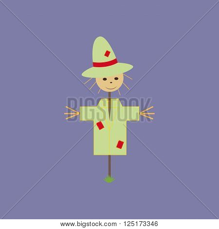Garden Scarecrow Icon on the purple background. Vector illustration