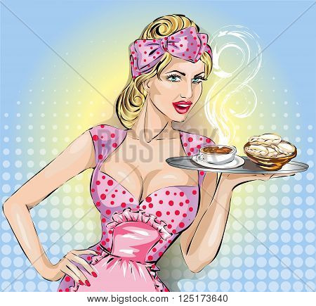 Pop Art Woman With Food Tray. Pin-up Fashion Girl