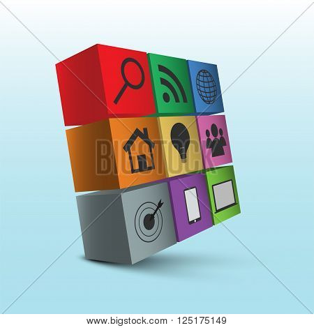 Nine 3D squares with icons. 3D cube with icons and shadow.