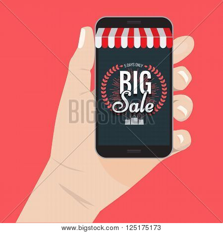 Online shopping big sale concept with man's hand holding smartphone and e-commerce vector illustration. Big Sale and sunburst or hand drawn star. Big sale Awning on smartphone