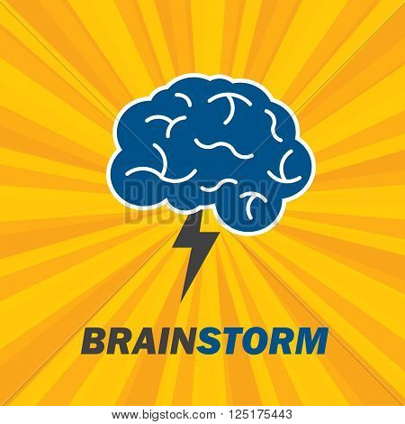 Brainstorm is brain and lightning of power creative business idea for innovation and sucess on vector illustration.