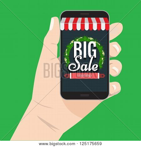 Online shopping big sale concept with man's hand holding smartphone and e-commerce vector illustration. Spring or summer big sale Big sale Awning on smartphone