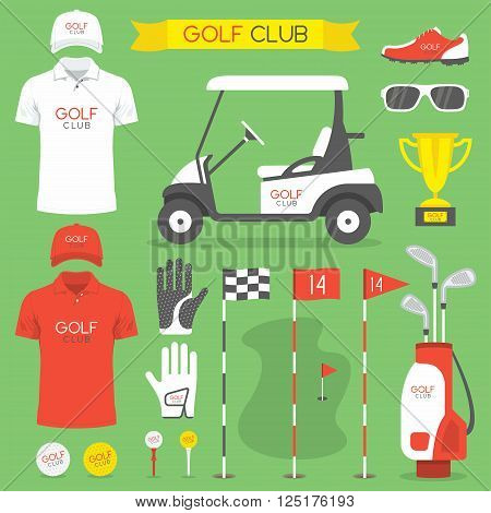 Golf game equipment and player flat icons set isolated vector illustration