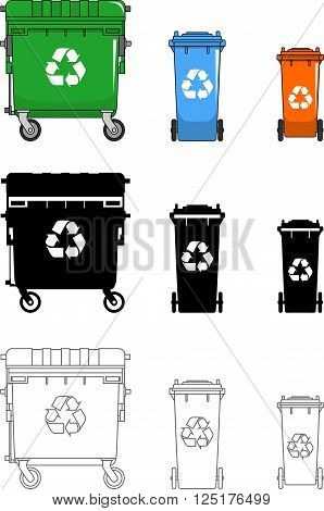 Detailed illustration of dumpsters isolated on white background in a flat style.