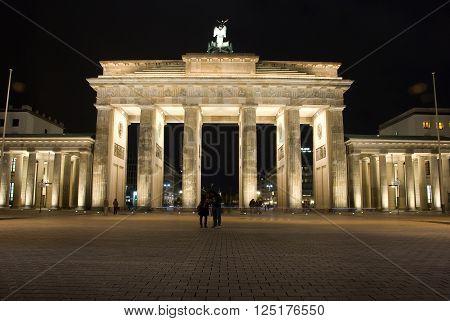 Brandenburg Gate, Berlin. Germany. Night shot of the Brandenburg Gate .