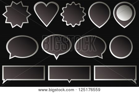 Set of dark (black) stickers isolated on dark background. Various shapes of a black (dark) stickers.