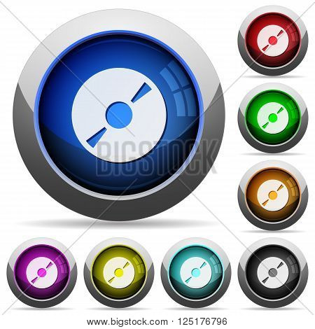Set of round glossy DVD disc buttons. Arranged layer structure.