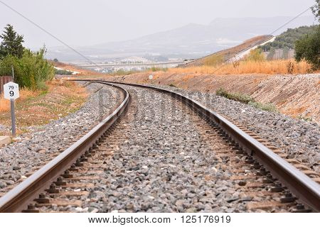 Photo Picture of a Classic Train Rail Road ** Note: Shallow depth of field